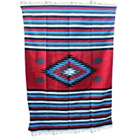 Del Mex Woven Mexican Southwest Large Center Diamond Blanket (Red)