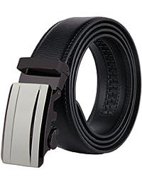 JINIU Men's Leather Belt Automatic Buckle 35mm Ratchet Dress Black Belts Boxed