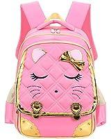 Efree Cute Cat Face Bow Diamond Bling Waterproof Pink School Backpack Girls Book Bag (Medium, Pink)