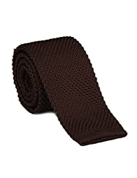 Tie - SODIAL(R)Men's Fashion Solid Tie Knit Knitted Tie Pure Color Necktie Narrow Slim Woven Brown