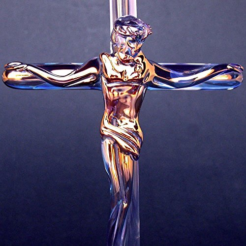 Crucifix Figurine of Hand Blown Glass