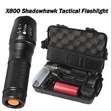 METFIT 6000lm Genuine SHADOWHAWK X800 Tactical Flashlight LED Zoom Military Torch G700 (Black)