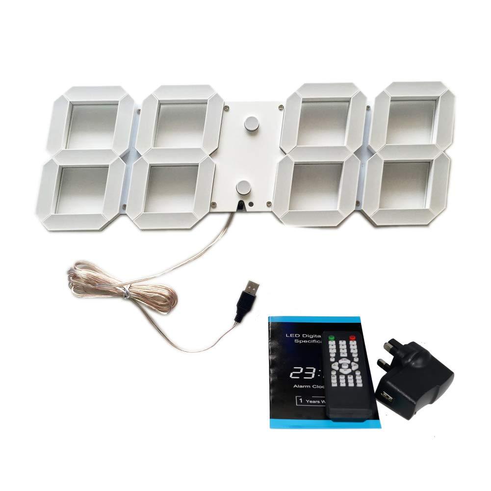 T Tocas 44cm großen Zahlen LED Digital Wanduhren mit Thermometer, Kalender, Snooze, Alarm, Countdown, Stunden   Minuten - Weiße LED Anzeige