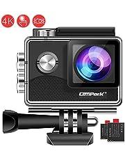 Campark Action Cam 4K 20MP WiFi wasserdichte 40m Unterwasserkamera Touchscreen Verstellbarem Sichtfeld Sports Actioncam mit EIS Stabilisierung und 2 1350mAh Akku und Zubehöre Kompatibel mit gopro …