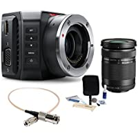 Blackmagic Design Micro Ultra HD Studio Camera 4K, Micro Four Thirds Mount - Bundle With Olympus M.zuiko Digital ED 40mm-150mm f/4-5.6 R Lens, BNC Female to DIN 1.0/2.3 RG-179 Cable 1, Cleaning Kit