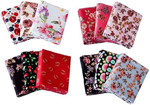 12Pcs Cotton Fabric Bundles 10.2×17.7in Bundle Sewing Patchwork Precut Fabric Scraps Fabric Patchwork Cotton Cotton Fabric Craft Quilting Patchwork for DIY Scrapbooking Art Craft Supplies