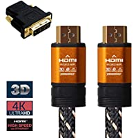 Premium 4K HDMI 2.0 Braided 3D Cable (5M,16Ft)-Audio Return Channel(ARC),Ethernet, Gold plated, Reliable & Sturdy & Flexible Nylon PVC, 4:4:4, 28 AWG, Home theater(1PACK + HDMI-DVI F/M Adapter) (16ft)