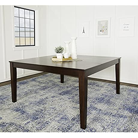 WE Furniture 60 Square Espresso Wood Dining Table