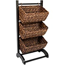 BirdRock Home 3-Tier Abaca Storage Cubby (Brown)   Made of Extremely Durable Abaca Fiber   Solid Wood Frame