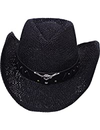 Simplicity Women Men Straw Cowboy Hat with Leather Band - Black Bull