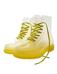 Women Lace-up Clear Rubber Candy Color Flat Ankle Rain Booties Soft Jelly Shoes Size:7.5(US size) Black
