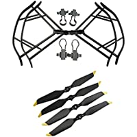 Upgraded Propellers for DJI Mavic Pro 8331 8331F Low-Noise Quick-release Folding Propellers Prop Guard Bumper Rc Quadcopter Spare Part Set (Black-Black-Gold)