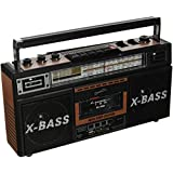 SuperSonic Retro 4 Band Radio and Cassette Player, Wood Grain