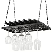 Vineyard Design Black Metal Ceiling Mounted Hanging Stemware Wine Glass Hanger Organizer Rack