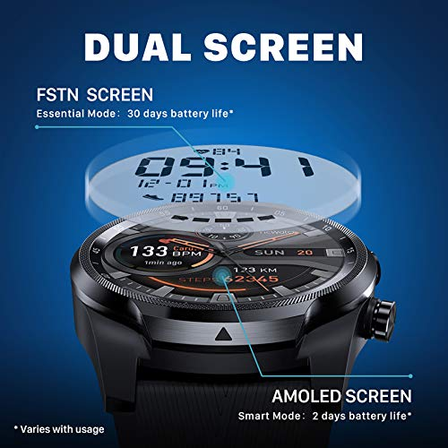 Ticwatch Pro 4G LTE Cellular Smartwatch GPS NFC Wear OS by Google Android Health and Fitness Tracker with Calls Notifications Music Swim Sleep Tracking Heart Rate Monitor US Version