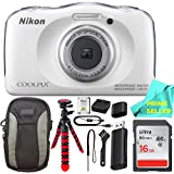 Nikon COOLPIX S33 Waterproof Digital Camera (White) Prime Seller BUNDLE!