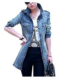 Friendshop Womens Slim Lapel Long Sleeve Denim Jacket Long Jean Coat Windbreaker