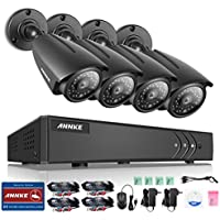 ANNKE New 8CH 1.3Megapixels Surveillance DVR System and (4) 960P(1280x960p) CCTV Metal Cameras with 100ft Night Vision, 5-in-1 1080N DVR Recorder with P2P Technology, Motion Detection, NO HDD