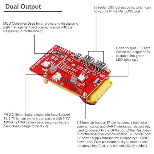 UPSPack 3.7V 4000mAh Lithium Akku Expansion Board for Raspberry Pi 4B 3B 3B 2B