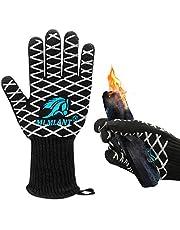 MLMLANT rękawice do grillowania rękawice do grillowania, rękawice do grilla ekstremalne odporne na wysokie temperatury do 800 ℃ / 1472 ℉, rękawice do grillowania z certyfikatem EN407 do grilla, grilla, gotowania, pieczenia, spawania, czarne, 1 para (M-1)