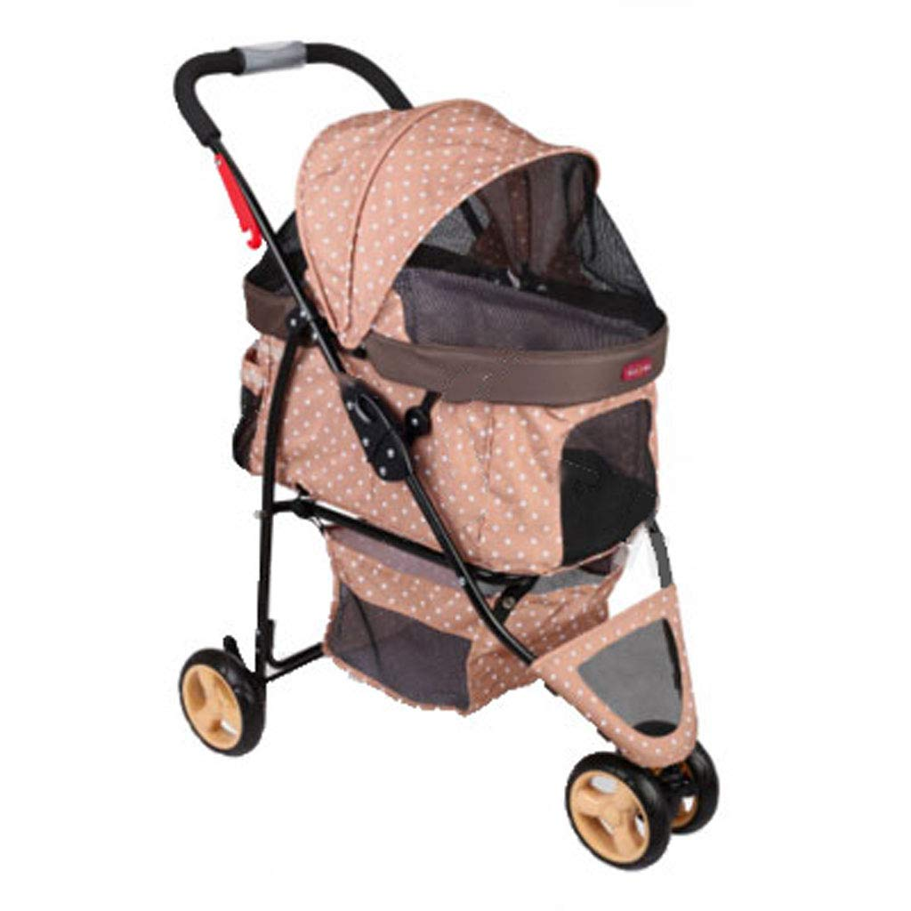 Brown A3 Pet Stroller Dog Cat Cart Rainproof Pet Trolley Animal Sports Car Fits Both Kids & Adults to Push. Dog cart (color   Brown)