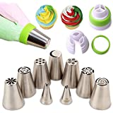 MRF 9Pieces Stainless Steel Cake Decoration Russian Flower Icing Tips set,DIY Cupcake Cake Decoration Piping Tips