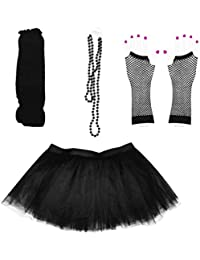 80s Fancy Costume Set - Tutu & Leg Warmers & Fishnet Gloves & Beads