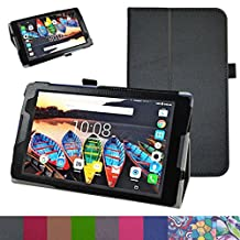 "Lenovo Tab3 A8 / Tab3 8 Case,Mama Mouth PU Leather Folio 2-folding Stand Cover with Stylus Holder for 8"" Lenovo Tab 3 8 TB3-850F / TB3-850M Tablet 2016,Black"