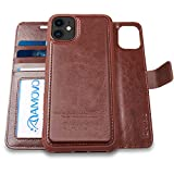 AMOVO Case for iPhone 11 (6.1'') [2 in 1] iPhone 11 Wallet Case Detachable [Vegan Leather] [Hand Strap] [Kickstand] iPhone 11 Flip Folio Case with Gift Box Package (iPhone 11 (6.1''), Brown)