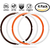 Silicone Sealing Ring for Instant Pot Replacement Accessoires, Fit 5 Quart or 6 Quart Modles, Sweet and Savory Edition,Orange, Brown and Common Transparent White, Pack of 4
