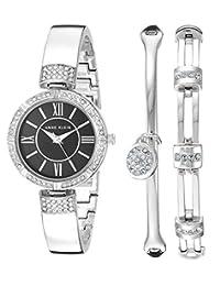 Anne Klein - Conjunto de reloj y pulsera con cristales Swarovski para mujer, Color plateado y negro.