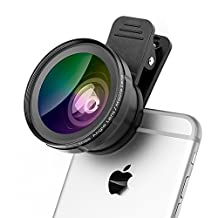 iPhone Lens, Fuleadture 0.45X Wide Angle Lens + Super Macro Lens, Clip-On Cell Phone Camera Lenses Kit for iPhone 7, Samsung and Other Smartphones
