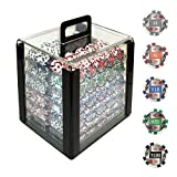 Trademark Poker 1000 4-Aces with Denominations Poker Chips in Acrylic Carrier, Clear