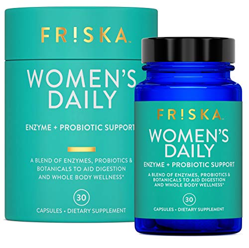 FR!SKA Womens Daily | Digestive Enzyme and Probiotics Supplement | Natural Support for Female Digestion, Immune and Urinary Health | 30 Capsules