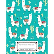 Composition Notebooks Wide Ruled: Composition Notebook Llamas & Cactus In Turquoise Cover : Wide Ruled Cute Notebook For Boys, Kids, Girls, Teens, ... 110 Pages Lined Writing Notebook For School.