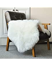 BORITAR Sheepskin Faux Area Rug, Sofa Cushion, Chair Cover Seat Pad,Super Soft Luxurious Plain Shaggy for Home, White 2 x 3 Feet
