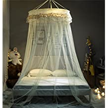 Zhiyuan Sequined Lace Trim Edge Decor Dome Bed Netting Canopy Curtain Mosquito Net for Twin Full Bed, Beige