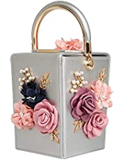 Women Satin Flower Evening Bag Box Clutch Bridal Clutch for Wedding Prom Cocktail Party