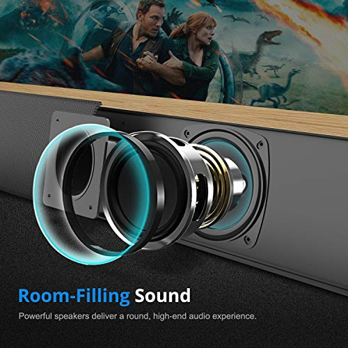 Sound Bar, BESTISAN Sound Bars for TV Wired and Wireless Bluetooth 5.0 Home Theather System Speaker (24 inch, 60 Watt, Deep Bass, Three Equalizer Mode, Bass Adjustable, Wall Mountable)