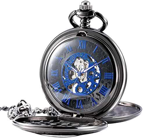 Treeweto Mens Pocket Watch Half Hunter Double Cover Skeleton Mechanical Blue Roman Numeral Fob Watch
