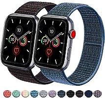 Vancle コンパチブル Apple Watch バンド 38mm 40mm 42mm 44mm ナイロンスポーツループバンド iWatch Series 5/4/3/2/1に対応 (42mm/44mm, 2色セット ブルーグリーン+マルチカラー)