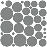 68 Silver Polka Dot Wall Stickers Removable Dot Wall Decals