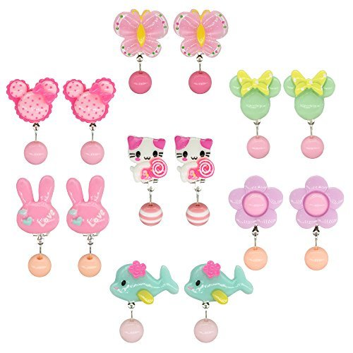 Elesa Miracle 7pc Kids Little Girl Clip-on Earrings Value Set Party Favor Birthday Gift Pretend Play Princess Jewelry Set in Box
