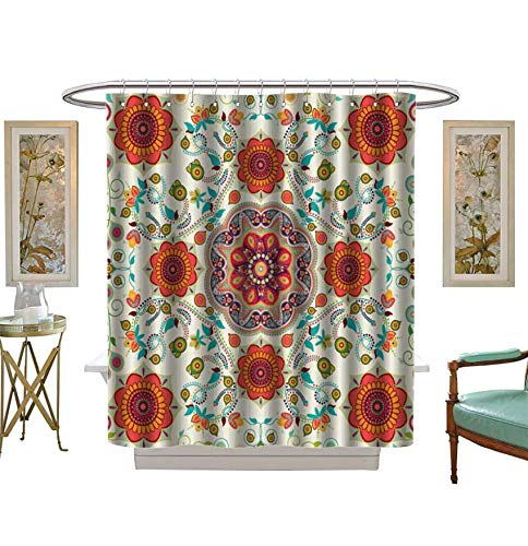 (Shower Curtains Digital Printing Seamless Ethnic Pattern Ornamental Wallpaper,Background Fabric Bathroom Set with Hooks Size:W36 x L72 inch)