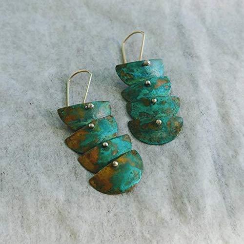 TALI Dainty Verdigris Brass Earrings, Long Layered Verdigris Earrings, semi-Circle Brass Links, Blue and Green Earrings, Dangle Verdigris Earring ()