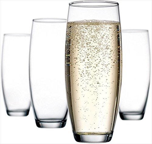Home Essentials 5016 Set of 4, 10 Oz Stemless Flute (Champagne Stemless Flutes)