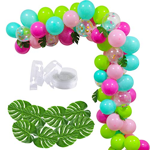 70 PCS DIY Balloons Garland with Blue Green Hotpink Confetti Balloons, Hawaii Flamingo Tropical Themed Party Supplies for Birthday Party Hawaii Luau Summer Beach Party Supplies -