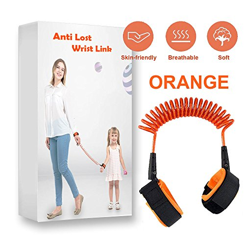 Cuff Harness (Dixis Child Anti-Lost Wrist Link (2.5 Meters) Dual Cuff, Hand Safety Harness for Toddlers, Children | Walking, Shopping, Traveling, Outdoor | Safe, Adjustable Comfort (Orange))