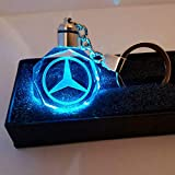 Fitracker 2018 New Style Mercedes Benz Keychain Creative LED Crystal 7 Color Light Changing Car Keyring the Best Gift for Drivers
