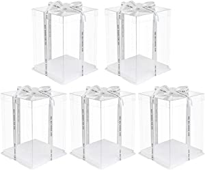 Hemoton 5pcs Transparent Cake Box Plastic Candy Gift Box Food Container Carrier Packaging Box for Birthday Baby Shower Wedding (8 inch Double Layers Boxes)